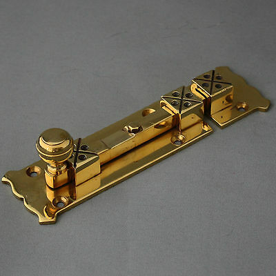 Brass Arts and Crafts Style Door Bolt 4