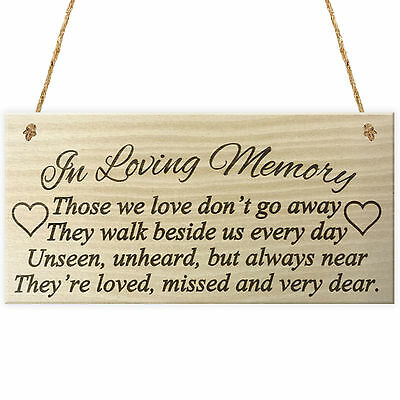 IN LOVING MEMORY Rememberance Memoria Poem Wooden Hanging Plaque Gift Love  Sign