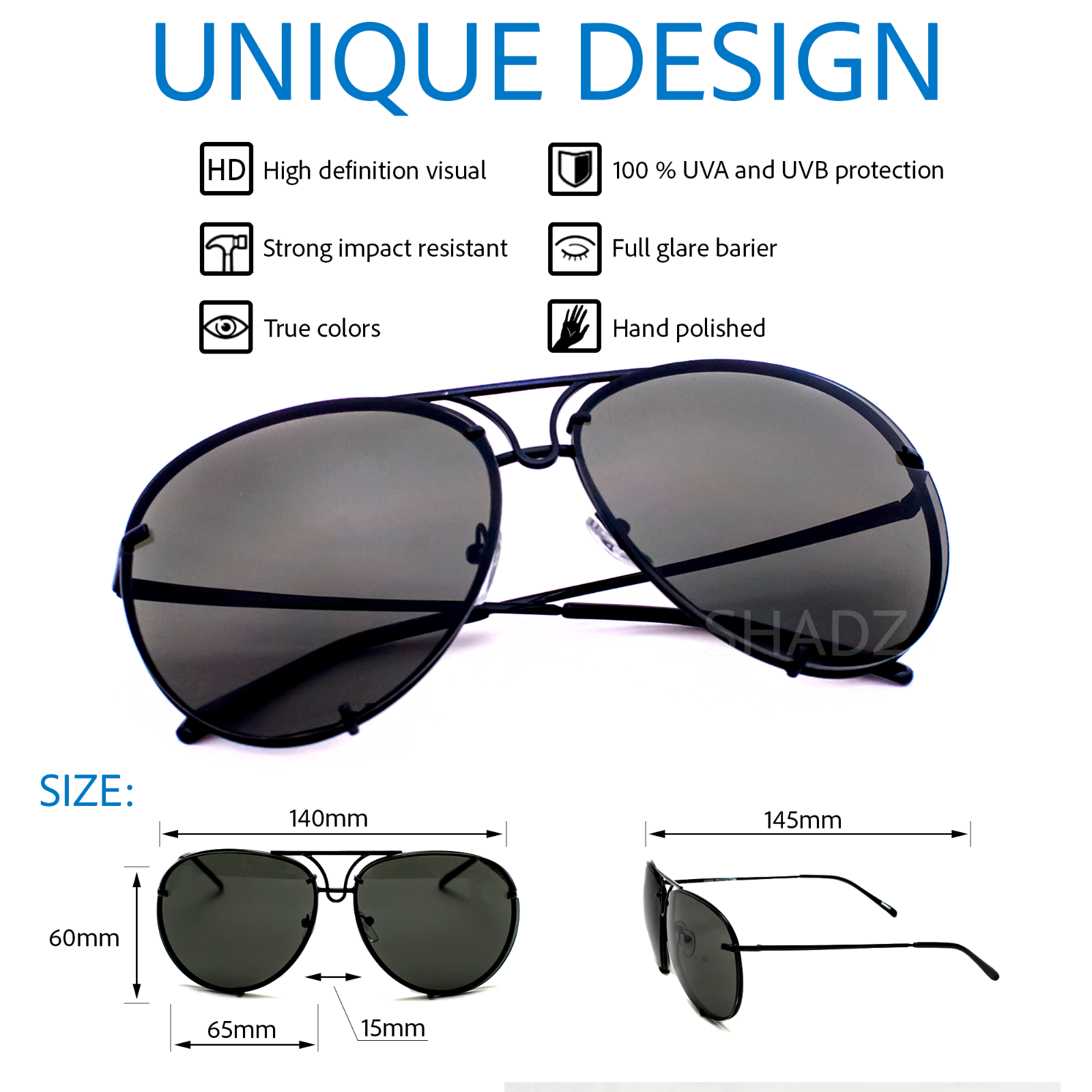 NEW XL Posche OVERSIZED Women Sunglasses Aviator Flat Top Square Shadz c