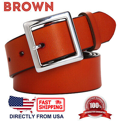 Women's Jean Belt, Classic Square Buckle Handcrafted Genuine Leather Belt 4