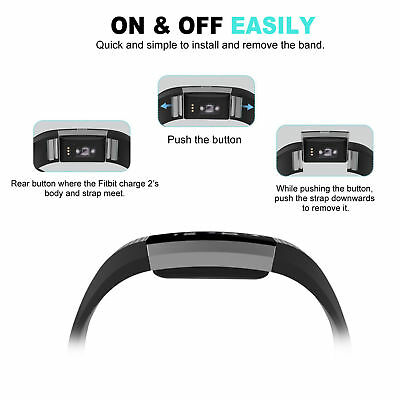 Fitbit Charge 2 Band Replacement Wristband Silicon Sports Watch Strap Metal Lot 6