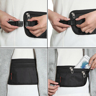 Money Belt travel bag secure waist zip Pouch RFID-Blocking Card/Passport Sleeves 10