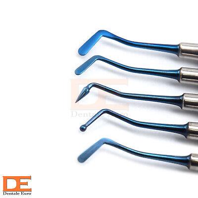 Set Of 5 Blue Titanium Coating Composite Filling Dentist Restorative Instruments
