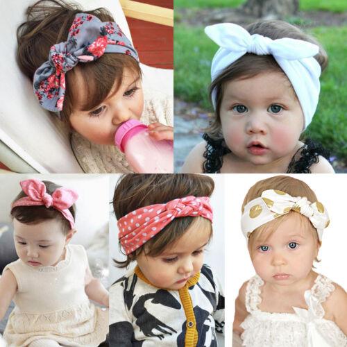 Girls Baby Bunny Bow Hairband Headband Stretch Turban Knot Head Wrap For Kids 2