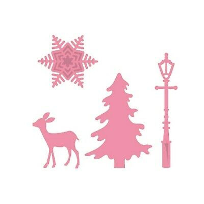 Christmas Metal Die Cut Lamp Post,Tree,Deer,Snowflake,Eline's Marianne Dies 3