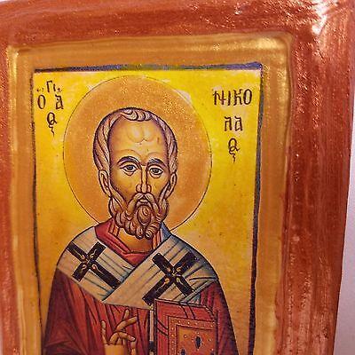 Saint Nicholas Nikolaos Agios Nikolas Rare Byzantine Greek Orthodox Icon Art 4