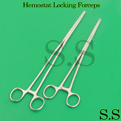 """New 2pc Fishing Set 10"""" + 12"""" Straight Hemostat Forceps Locking Clamps Stainless 2"""