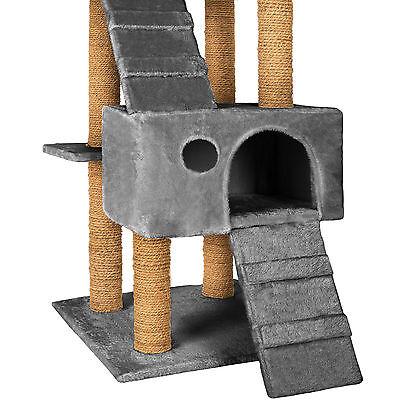 Arbre à chat griffoir grattoir jouet geant 2 grottes 169cm pour chats gris 3