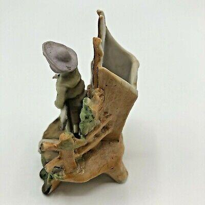 Antique Miniature Bisque Figurine Boy Kite Hand Painted 5