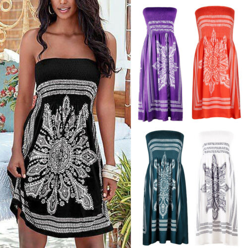 b4213529bf Boho Womens Strapless Tube Bikini Cover Up Holiday Beach Sundress Mini  Dress US 2 2 of 11 See More