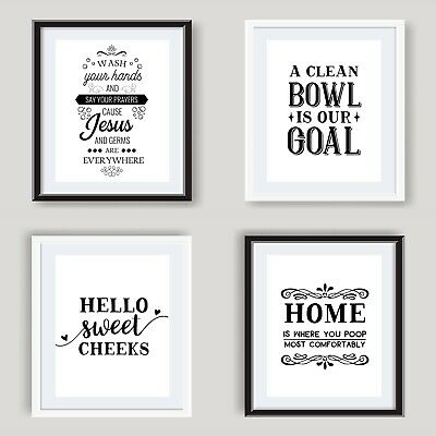 Funny Bathroom Wall Art Poster Black and White Bathroom Prints Toilet Pictures 3