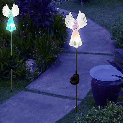 Set of 2 Solar Power Angel Fiber Optic Wings Garden Stake Color Change LED Light 4