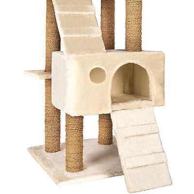 Arbre à chat griffoir grattoir jouet geant 2 grottes 169cm pour chats beige 3