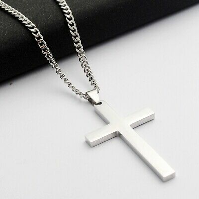 Stainless Steel Plain Silver Jesus Cross Crucifix Pendant Necklace Mens & Womens 3
