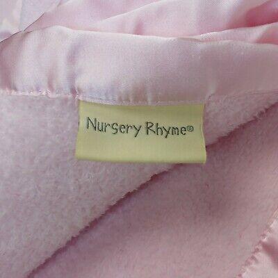 Nursery Rhyme Baby Blanket Pink Fleece w/ Satin Edge Harper 10