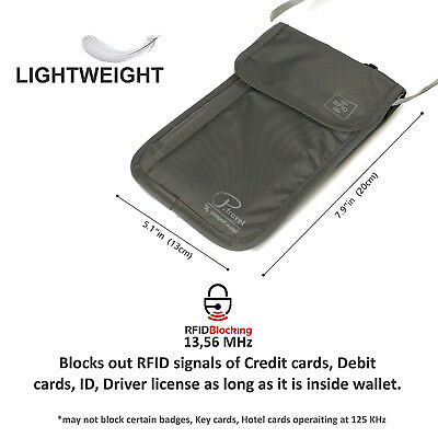 Travel Neck Pouch Passport Holder RFID Blocking Wallet ID Cards Orgainzer Bag 6