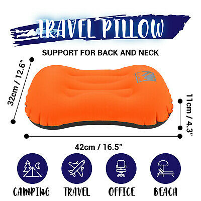 Air Pillow Inflatable Cushion Portable Head Rest Compact Travel Camping w/ Pouch 4