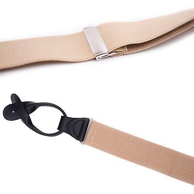 Mens Adjustable 35mm Wide Trouser Belt Suspender Elastic Leather Button Braces 8