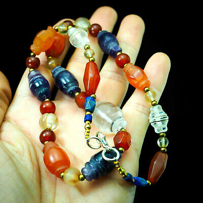 Assortment Ancient Beads Collared Bicone Carnelian Amethyst Crystal Necklace 2