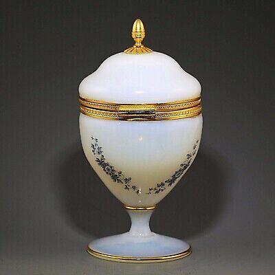 Antique French white opaline crystal glass Trinket Box Casket hinged lid ormolu 5