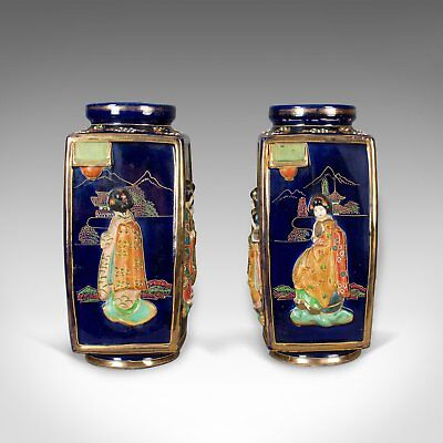 Antique Pair of Japanese Vases, Ceramic Pots, 20th Century 3
