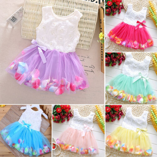 Newborn Flower Pageant Princess Dress Baby Girl Wedding Party Tutu Dresses 6-24M 2