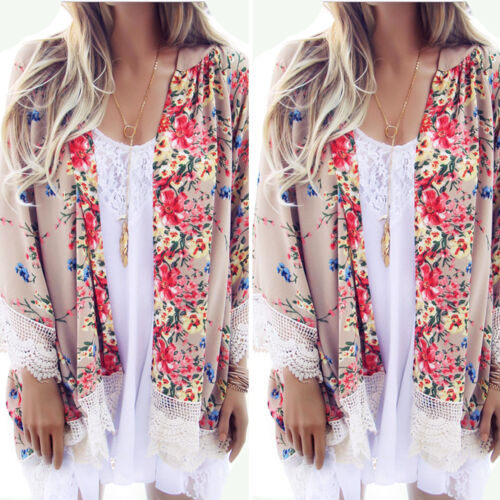 Womens Boho Floral Beach Cover Up Kimono Cardigan Jacket Tops Blouse Shawl 5