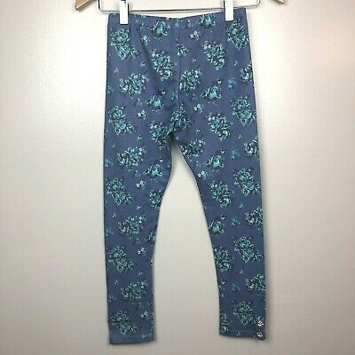 Self Esteem L Girls Leggings Floral Print Blue Stretch Bling Pants Large 10/12 5