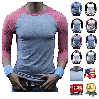 Men 3/4 Sleeve Baseball T-Shirt Tri- Blend Casual Slim Fit Crew Neck Hipster Gym 3