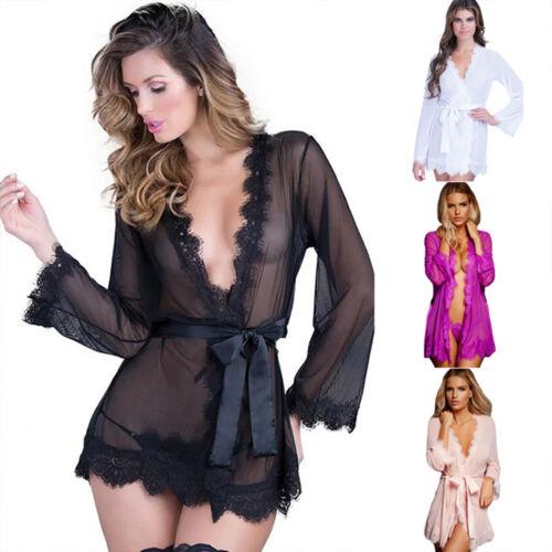 f8cb2d1f65 Women s Lace Sleepwear Robe Bathrobe Sexy Lingerie G-string Babydoll Night  Gown 4 4 of 12 ...