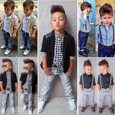 89b4fac9ece ... Kids Baby Boys Dress Shirt Blazer Coat Pants Trousers Gentleman Outfits  Clothes 2