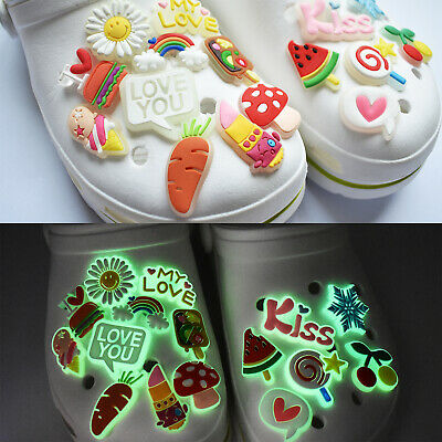 100pcs Random Diverses Style Glowing Florescent Shoe Adapts Charms Child Gifts 2
