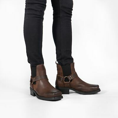 Woodland Gringos Harley Mens Black Western Cowboy Biker Ankle Boots Size 7-11