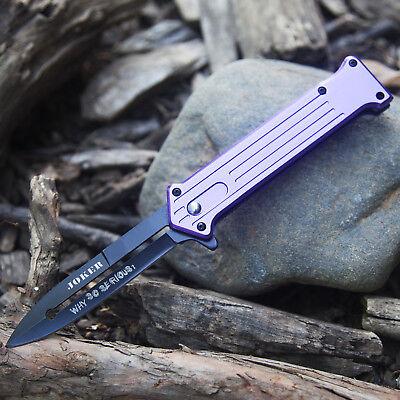 "7.5"" JOKER SPRING ASSISTED STILETTO TACTICAL FOLDING POCKET KNIFE Blade Purple"