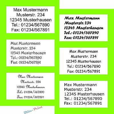 1950 Adress-Etiketten Adress-Aufkleber Absender-Etikett mit Wunschtext bedruckt