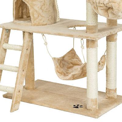 Arbre à chat griffoir grattoir animaux geant avec hamac lit 141 cm hauteur beige 6