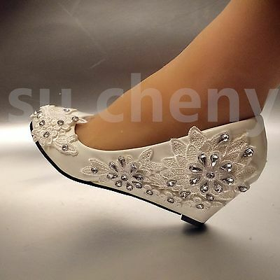 2 heel white ivory wedge lace flowers crystal wedding shoes bridal 2 of 12 2 heel white ivory wedge lace flowers crystal wedding shoes bridal size mightylinksfo