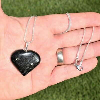 "CHARGED Starburst Flash Nuummite Crystal HEART Perfect Pendant™ + 20"" Chain 2"