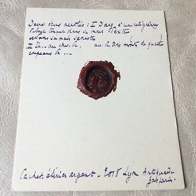 Cachet Ancien Cire Sceau Armoiries Marquis Antique French Wax Seal 2