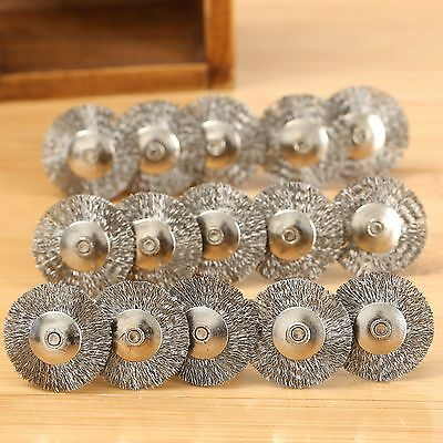 20Pcs 25mm Stainless Steel Wire Wheel Brush Cup For Dremel Grinder Rotary Tools 2