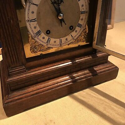 bracket clock Oak Cased W & H Superb 4