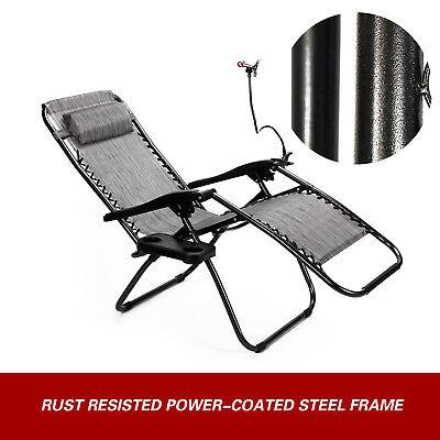 2 Zero Gravity Folding Lounge Beach Chairs Tray Outdoor Recliner Brown/Gray 3