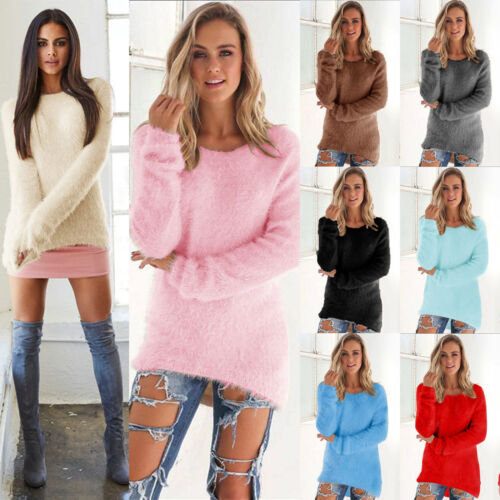 Womens Fluffy Sweatshirt Casual Sweater Long Sleeve Pullover Blouse Jumper Tops 2