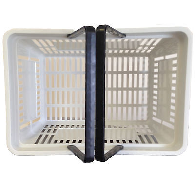 2 Handle Grey Plastic Shopping Basket Retail Supermarket Use Hand Carry 3