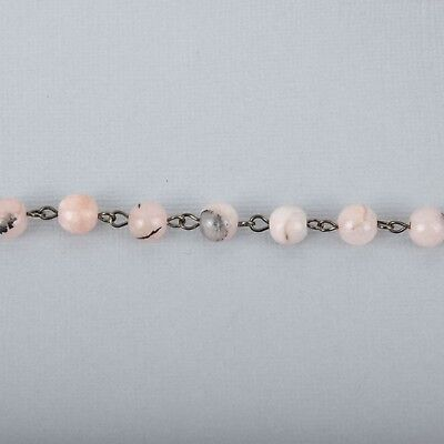 1 yard BLUSH PINK Agate Gemstone Rosary Chain, GUNMETAL, 8mm round fch0990a 3