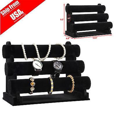 3TIER BAR Bracelet Watch Table Jewelry Organizer Holder Rack Stand