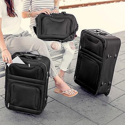 Set de 4 valises de voyage textile trolley bagage avec 2 roues noir 10