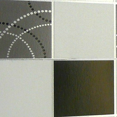 Debona Dotty Wallpaper Kitchen Bathroom Black Silver Tile Washable Vinyl 2670