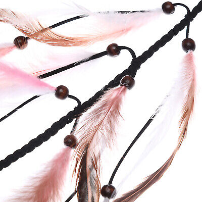 Boho Women's Long Feather Hair Scrunchies Weaving Hair Rope Rubber Band Ponytail 8
