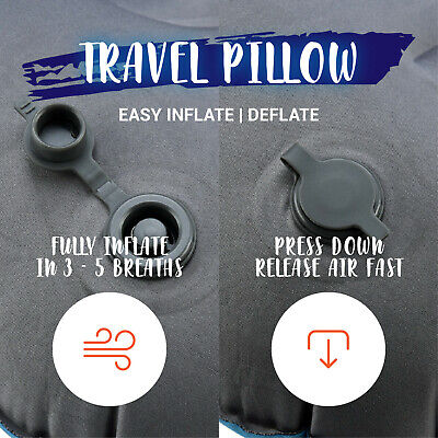 Air Pillow Inflatable Cushion Portable Head Rest Compact Travel Camping w/ Pouch 3